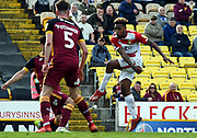 Mallik Wilks shoots for goall and scores 1-0 during  the EFL Sky Bet League 1 match between Bradford City and Doncaster Rovers at the Northern Commercials Stadium, Bradford, England on 6 April 2019.