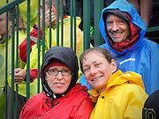 Karen Goritski, Pam Fairchild and Ted Lamb watching the 2012 US Olympic Trials at Hayward Field, Eugene, Oregon, USA.
