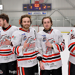 """FORT FRANCES, ON - May 2, 2015 : Central Canadian Junior """"A"""" Championship, game action between the Fort Frances Lakers and the Soo Thunderbirds, Championship game of the Dudley Hewitt Cup. David Radke #24 and Eric Hillock #26 of the Soo Thunderbirds.<br /> (Photo by Shawn Muir / OJHL Images)"""
