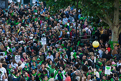 London, UK. 14 June, 2019. Members of the Grenfell community, joined by firefighters, politicians and well-wishers, prepare to take part in the Grenfell Silent Walk around North Kensington on the second anniversary of the Grenfell Tower fire on 14th June 2017 in which 72 people died and over 70 were injured.