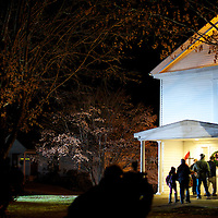 Community members emerge a prayer vigil from the Newton United Methodist Church after a mass shooting at Sandy Hook Elementary School, in Sandy Hook, CT on December 14, 2012.