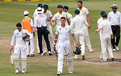 Durban. 050318. Josh Hazlewood of Australia celebrates their victory over the Proteas during day 5 of the 1st Sunfoil Test match between South Africa and Australia at Sahara Stadium Kingsmead on March 04, 2018 in Durban, South Africa. Picture Leon Lestrade/African News Agency/ANA