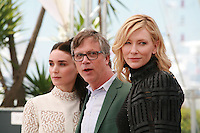 Actress Rooney Mara, Director Todd Haynes and actress Cate Blanchett<br />  at the photocall for the film Carol at the 68th Cannes Film Festival, Sunday May 17th 2015, Cannes, France.