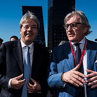 Rho, Italy - 14-04-2016: Minister of Foreign Affairs, Paolo Gentiloni (L) visits the Salone del Mobile di Milano with Roberto Snaidero (R)