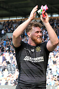 Hull FC prop forward Scott Taylor (8) applauds the fans after   the Betfred Super League match between Hull FC and Hull Kingston Rovers at Kingston Communications Stadium, Hull, United Kingdom on 19 April 2019.