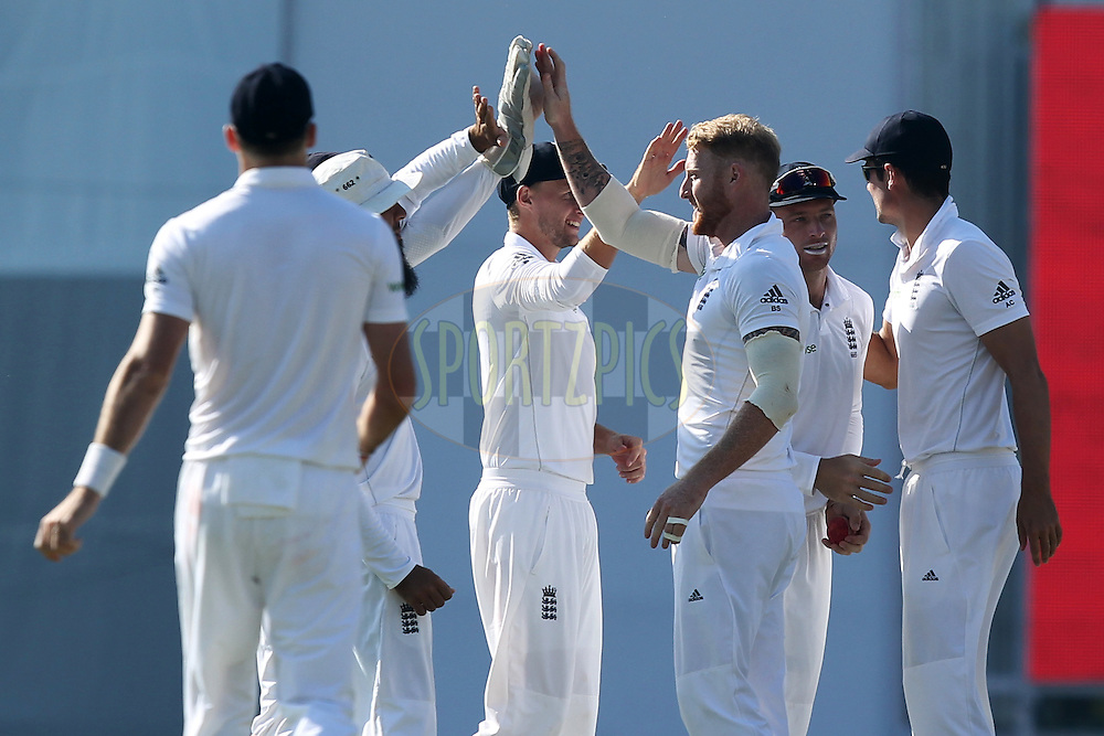Ben Stokes of England celebrates wicket of Ravichandran Ashwin of India during day 3 of the third test match between India and England held at the Punjab Cricket Association IS Bindra Stadium, Mohali on the 28th November 2016.Photo by: Prashant Bhoot/ BCCI/ SPORTZPICS