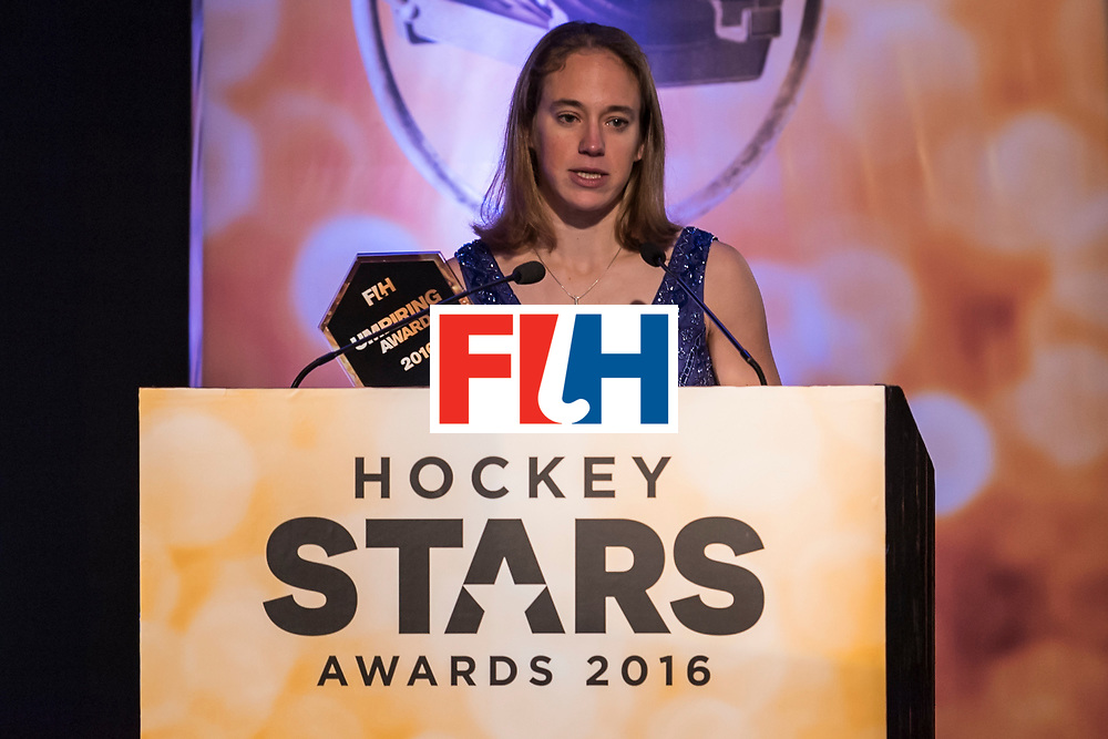 CHANDIGARH, INDIA - FEBRUARY 23: Winner of the FIH Female Umpiring Award Laurine Delforge of Belgium speaks during the FIH Hockey Stars Awards 2016 at Lalit Hotel on February 23, 2017 in Chandigarh, India. (Photo by Ali Bharmal/Getty Images for FIH)