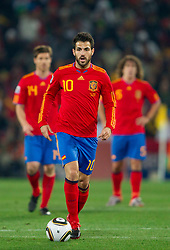 Cesc Fabregas of Spain during the 2010 FIFA World Cup South Africa Group H Second Round match between Spain and Honduras on June 21, 2010 at Ellis Park Stadium, Johannesburg, South Africa.  Spain defeated Honduras 2-0. (Photo by Vid Ponikvar / Sportida)