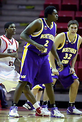 09 January 2007: Eric Coleman steps in fron of Bobby Hill who is flanked on the left by Grant Stout. The Illinois State Redbirds, winless in the Missouri Valley Conference, knocked off the undefeated  Panthers of Northern Iowa 67-64 in overtime at Redbird Arena in Normal Illinois on the campus of Illinois State University.<br />