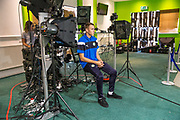 Forest Green Rovers Jordan Morris(22) has his face scanned for FIFA18 during the Forest Green Rovers Photocall at the New Lawn, Forest Green, United Kingdom on 31 July 2017. Photo by Shane Healey.