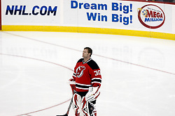 Jan 22, 2010; Newark, NJ, USA; New Jersey Devils goalie Martin Brodeur (30) before the first period of their game against the Montreal Canadians at the Prudential Center.