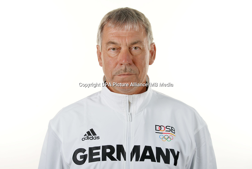 Reiner Kießler poses at a photocall during the preparations for the Olympic Games in Rio at the Emmich Cambrai Barracks in Hanover, Germany. July 04, 2016. Photo credit: Frank May/ picture alliance.   usage worldwide
