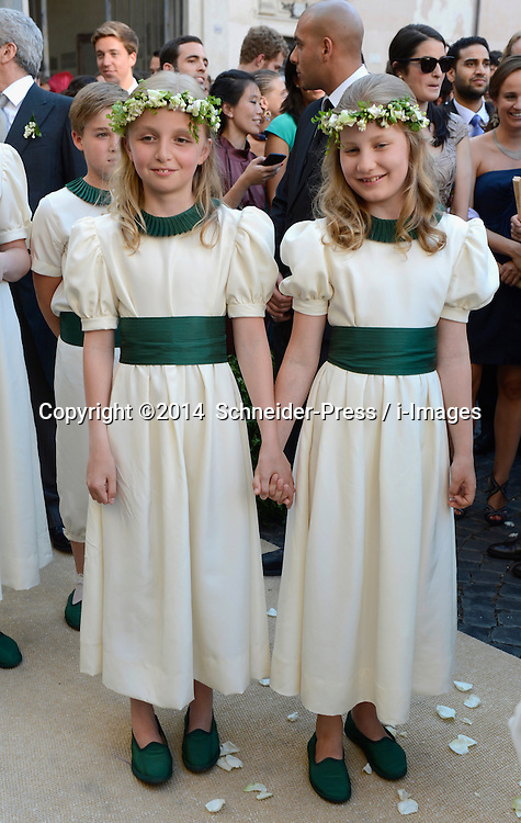 Image ©Licensed to i-Images Picture Agency. 05/07/2014. Rome, Italy.  Bride maids Princess Elisabeth von Belgien (r.) and Princess Louise von Belgien (l.) during the wedding of Prince Amedeo Of Belgium and Elisabetta Maria Rosboch Von Wolkenstein at Basilica Santa Maria in Trastevere . Picture by  Schneider-Press / i-Images<br /> UK&USA ONLY