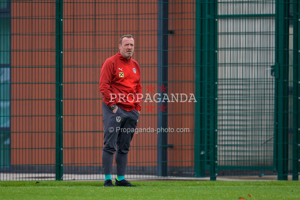 NEWPORT, WALES - Monday, October 14, 2019: Austria's head coach Rupert Marko during an Under-19's International Friendly match between Wales and Austria at Dragon Park. (Pic by David Rawcliffe/Propaganda)