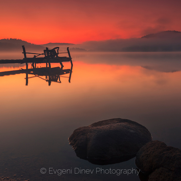 Minutes before sunrise on the lake