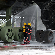 Fire fighters during a training exercise.