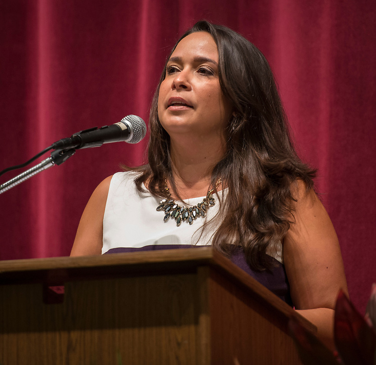 Stacy Garcia comments during a renaming ceremony at Bob Lanier Middle School, September 21, 2016.