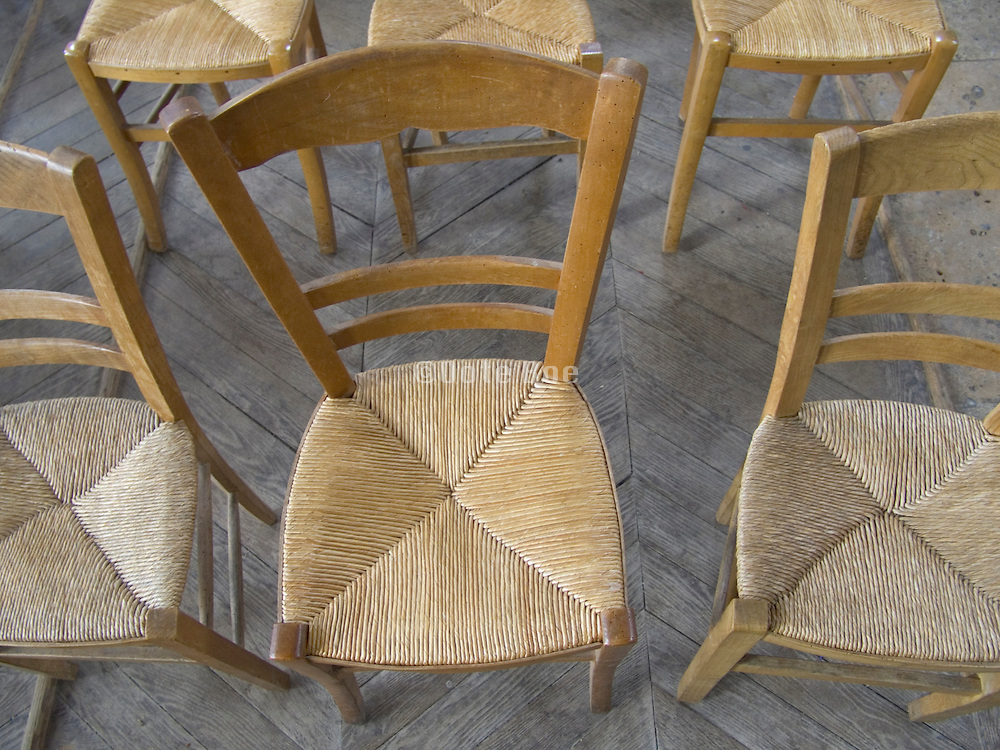 cropped view of a row of old style chairs