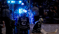 June 10, 2011; Vancouver, BC, CANADA; Vancouver Canucks goalie Roberto Luongo (1) leads his teammates out to the ice before game five of the 2011 Stanley Cup Finals against the Boston Bruins at Rogers Arena. Mandatory Credit: Jason O. Watson / US PRESSWIRE