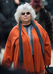 © London News Pictures. 13/02/2014. London, UK. Actress Miriam Margolyes leaving the church.  The funeral of actor Roger Lloyd-Pack at St Pauls Church also known as 'The Actor's Church'  in Covent Garden, London. Roger Lloyd-Pack was famous for playing roles such as Trigger in Only Fools and Horses and Owen Newitt in the The Vicar of Dibley. Photo credit : Ben Cawthra/LNP