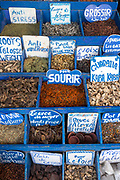 Herb and spice stand in the Essaouira medina, Southern Morocco