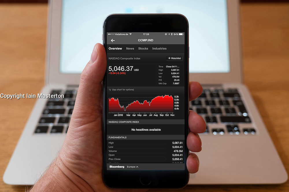 Using iPhone smartphone to display chart of performance of NASDAQ index