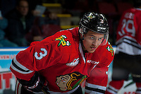 KELOWNA, CANADA - JANUARY 21: Caleb Jones #3 of the Portland Winterhawks stands on the ice during warm up against the Kelowna Rockets on January 21, 2017 at Prospera Place in Kelowna, British Columbia, Canada.  (Photo by Marissa Baecker/Shoot the Breeze)  *** Local Caption ***
