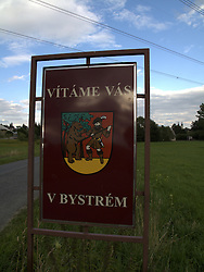 CZECH REPUBLIC VYSOCINA NEDVEZI 23JUL11 - Bystre town sign in Vysocina, Czech Republic...jre/Photo by Jiri Rezac..© Jiri Rezac 2011