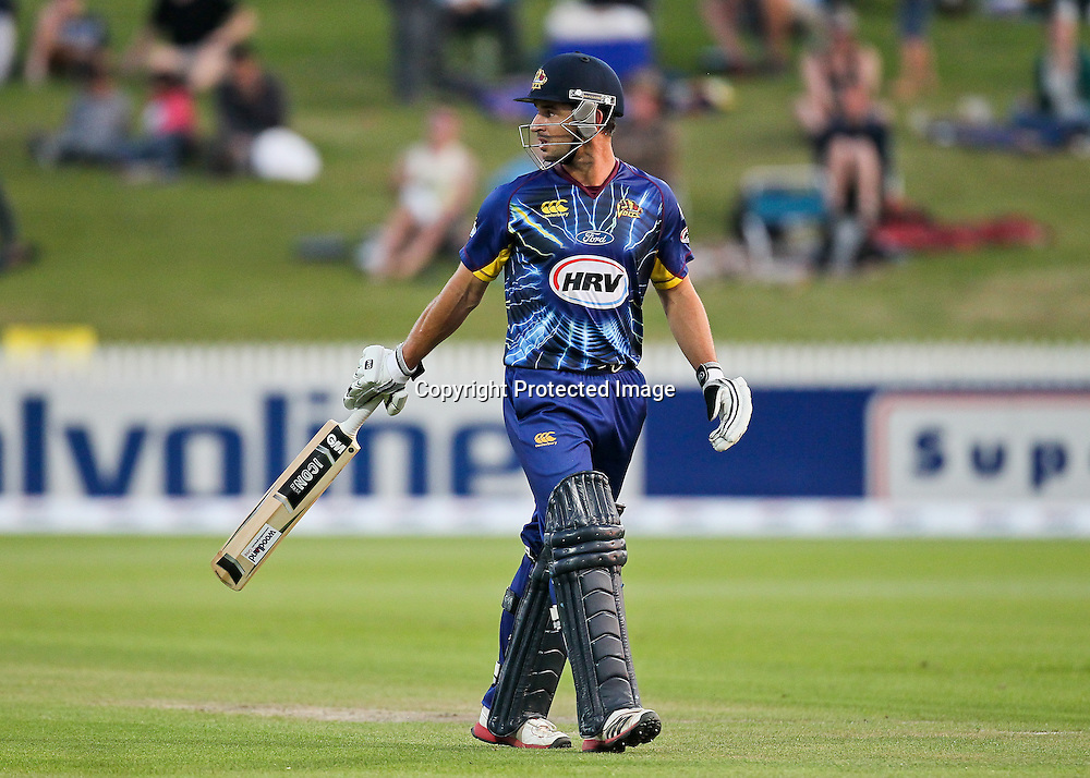 Otago Volt's Ryan ten Doeschate watches a replay of his dismissal on the big screen during the HRV Cup - Northern Knights v Otago Volts at Seddon Park, Hamilton on Friday 14 December 2012.  Photo: Bruce Lim / Photosport.co.nz