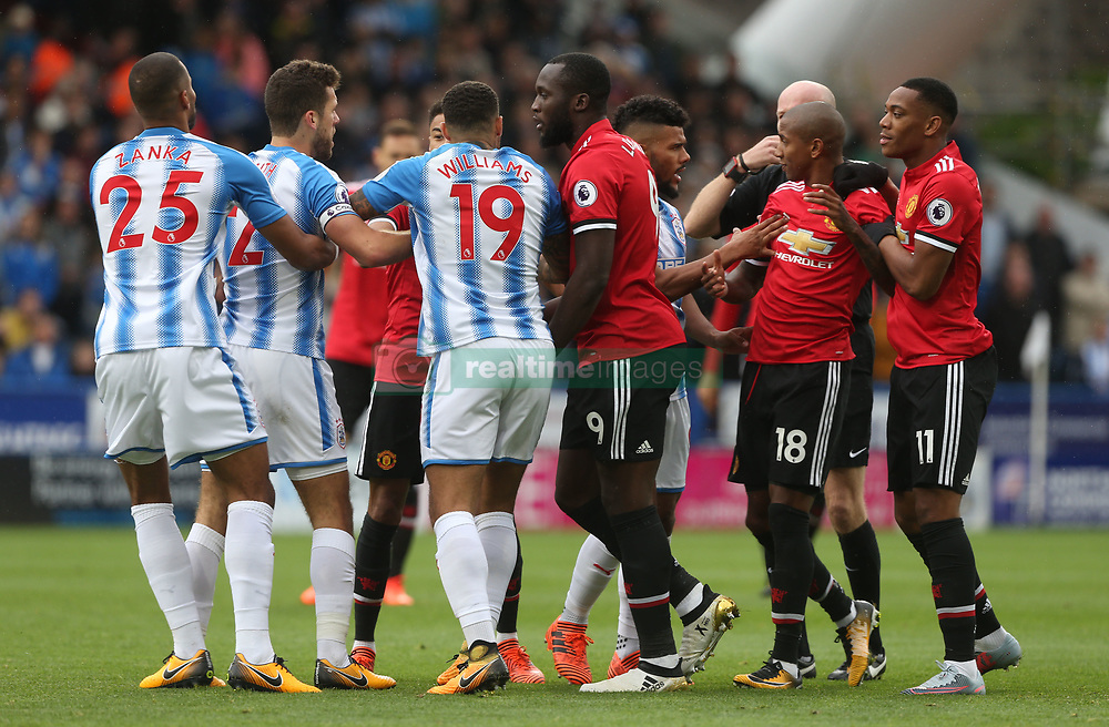 21 October 2017 Huddersfield: Premier League Football: Huddersfield Town v Manchester United: tempers flare between rival players.<br /> Photo: Mark Leech