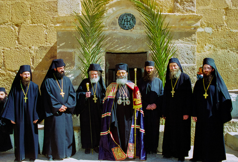 Greek Orthodox priest and monks at St Catherine's Monastery in the middle of the Sinai Desert, Egypt