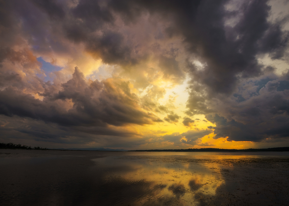 Summer storm clouds over Lake Champlain as seen from Sand Bar State Park, Grand Isle, Vermont
