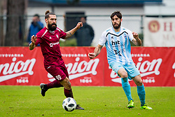 Luka Majcen of NK Triglav Kranj and Matej Santek of ND Gorica during football match between NK Triglav Kranj and ND Gorica in Round #24 of Prva Liga Telekom Slovenije 2017/18, on March 18, 2018 in Sportni park Kranj, Kranj, Slovenia. Photo by Ziga Zupan / Sportida