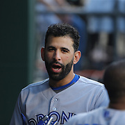 Jose Bautista, Toronto Blue Jays, in the dugout during the New York Mets Vs Toronto Blue Jays MLB regular season baseball game at Citi Field, Queens, New York. USA. 16th June 2015. Photo Tim Clayton