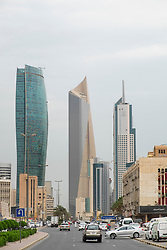 Modern skyscrapers (Kipco Tower on left and Al Hamra Tower Centre) in Central Business District CBD of Kuwait City , Kuwait.