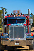 Engine and cab of Peterbilt truck used for towing in Natchez, Mississippi, USA