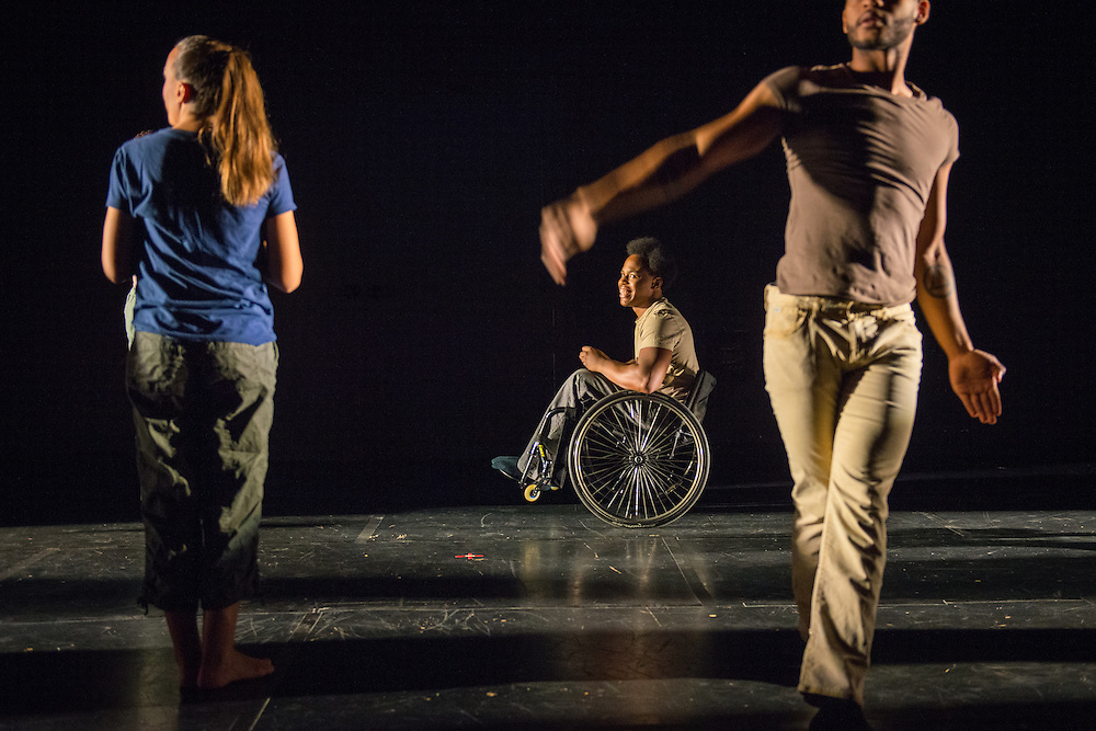 """Photographs of the Dancing Wheels Company & School rehearsal for """"The Lasting Legacy"""" performance at Baker Center Theater on the Ohio University campus in Athens, Ohio on Oct. 13, 2015. The Dancing Wheels Company & School has been advocating and performing physically integrated dance for over 30 years.<br />  <br /> [Photograph by Joel Prince]"""