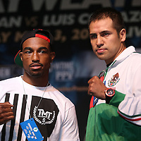 Boxers J'Leon Love (left) and Marco Antonio Periaban pose during the undercard final press conference for the Mayweather & Maidana boxing match at the Hollywood Theater, inside the MGM Grand hotel on Thursday, May 1, 2014 in Las Vegas, Nevada.  (AP Photo/Alex Menendez)