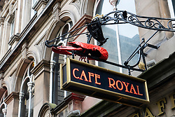 Sign outside famous Cafe Royal in Edinburgh, Scotland, UK