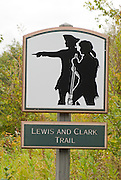 Lewis and Clark Trail marker, Columbia River Gorge, Washington USA