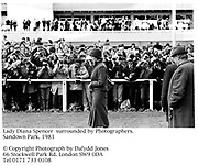 Lady Diana Spencer  surrounded by Photographers.<br />Sandown Park. 1981<br /><br />© Copyright Photograph by Dafydd Jones<br />66 Stockwell Park Rd. London SW9 0DA<br />Tel 0171 733 0108