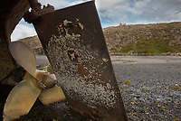 The propeller and the rudder blade of the stranded boat &Ouml;rn SH.<br /> Location: The island of H&aacute;ey, Sk&oacute;garstr&ouml;nd, West Iceland.