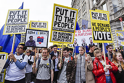 March 23, 2019 - London, UK - LONDON, UK.  Protesters at the front of the march.  Thousands of people take part in the ''Put It To The People March'', marching from Park Lane to Parliament Square on what was supposed to be six days before the UK was due to leave the EU, before an extension to the departure date was given.  Protesters demand that the public is given a final say on Brexit as support for the Prime Minister's withdrawal plan continues to recede. (Credit Image: © Stephen Chung/London News Pictures via ZUMA Wire)