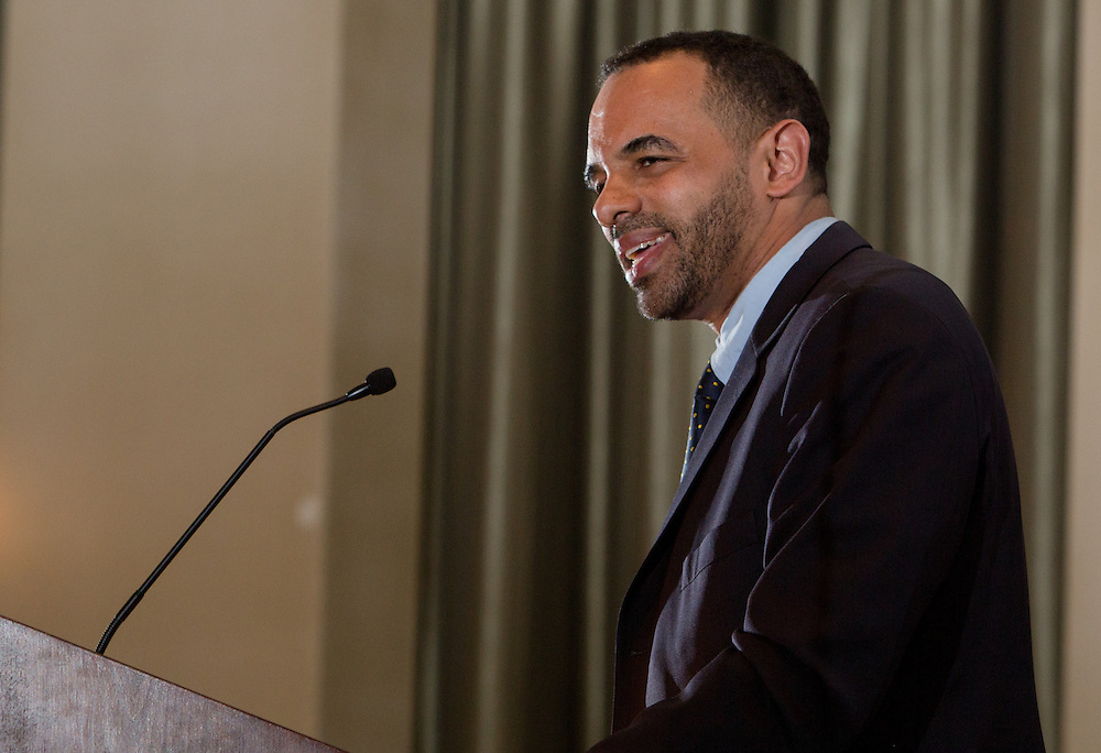 Aaron Jeter delivers a keynote speech during the first-ever Men of Black Excellence Awards at Ohio Univesity, held on April 13, 2014, in Walter Rotunda. The ceremony recognized African American students in categories such as academics, campus involvement, and the performing arts, among others. Photo by Lauren Pond