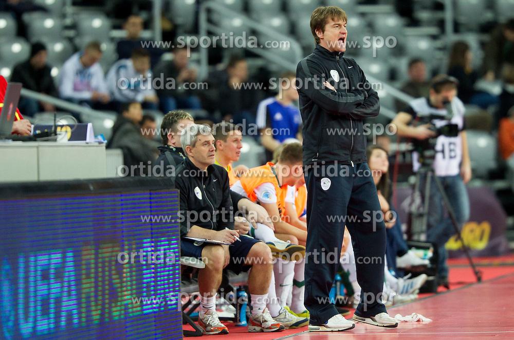 Andrej Dobovicnik, head coach of Slovenia during futsal match between Slovenia and Ukraine at Group stage of European Futsal Championship Croatia 2012, on February 2, 2012 in Arena Zagreb, Zagreb, Croatia.  Ukraine defeated Slovenia 6-3. (Photo By Vid Ponikvar / Sportida.com)
