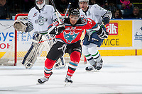 KELOWNA, CANADA - MARCH 18: Tyrell Goulbourne #12 of Kelowna Rockets skates against the Seattle Thunderbirds on March 18, 2015 at Prospera Place in Kelowna, British Columbia, Canada.  (Photo by Marissa Baecker/Shoot the Breeze)  *** Local Caption *** Tyrell Goulbourne;