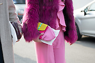 Fur Coat and Pink Bag, Outside Gucci FW2017