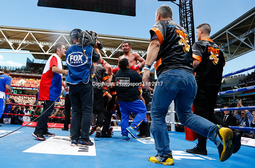"Manny Pacquiao vs. Jeff Horn, ""Battle of Brisbane"" boxing match for the WBO welterweight championship. Suncorp Stadium in Brisbane, Queensland, Australia. 2 July 2017. Copyright Image: Jason O'Brien / www.photosport.nz"