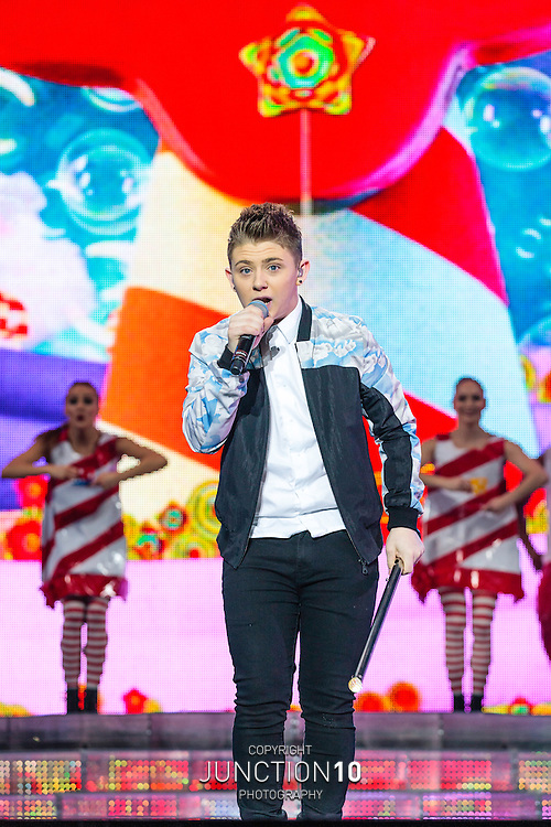 Nicholas McDonald performs during X-Factor Live 2014 at the LG Arena, Birmingham, United Kingdom<br /> Picture Date: 29 March, 2014