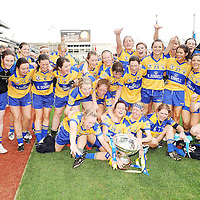 27 September 2009; The Clare team celebrate with the Mary Quinn Memorial Cup. TG4 All-Ireland Ladies Football Intermediate Championship Final, Clare v Fermanagh, Croke Park, Dublin. Picture credit: Brendan Moran / SPORTSFILE *** NO REPRODUCTION FEE ***
